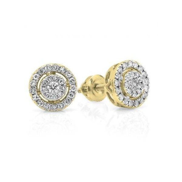 0.40 Carat (ctw) 18K Yellow Gold Real Round Cut White Diamond Ladies... ($299) ❤ liked on Polyvore featuring jewelry, earrings, yellow, flower earrings, gold screw back earrings, flower stud earrings, round stud earrings and yellow stud earrings