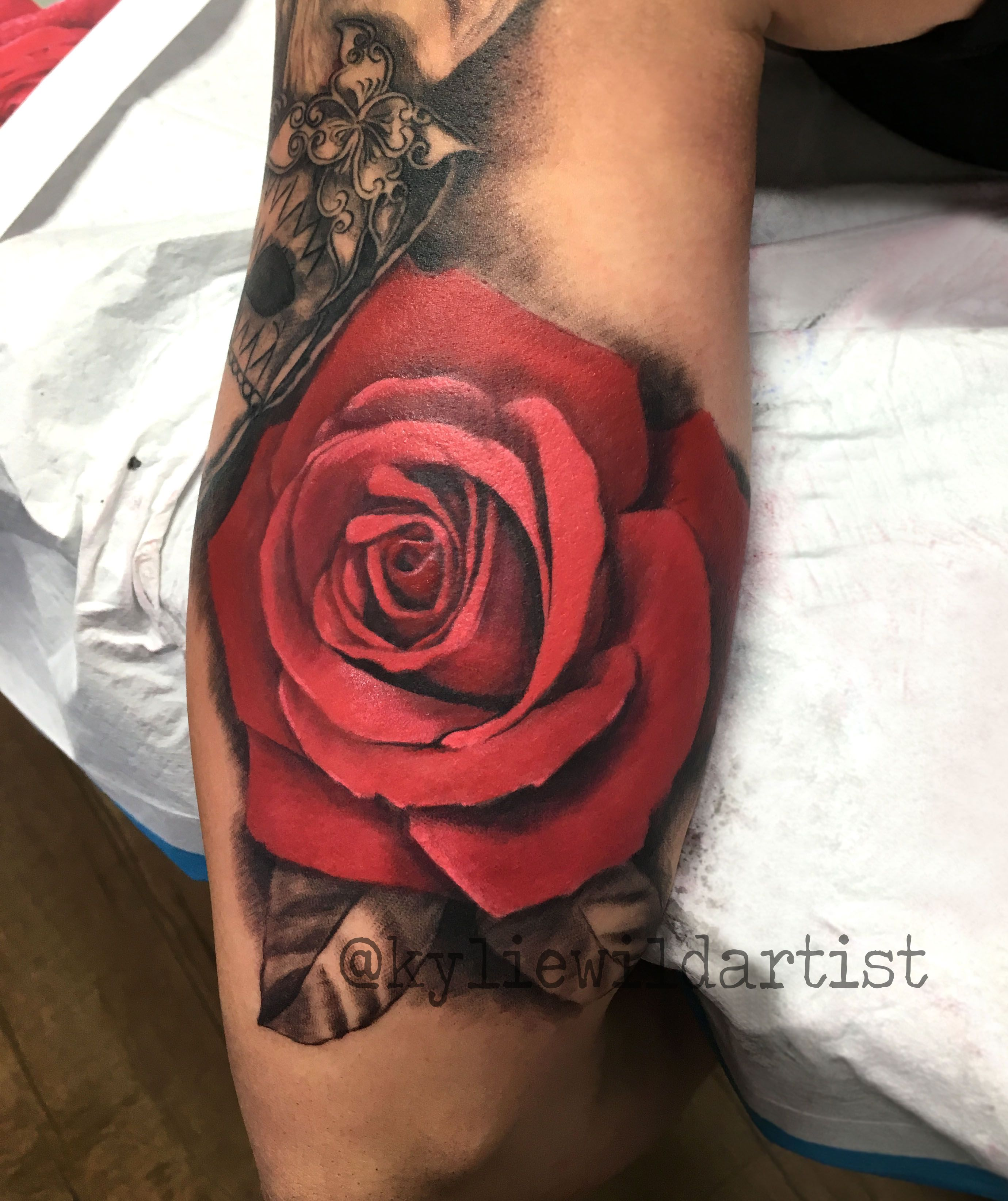 11f2ccfe5c333 Sleeve Tattoos · Beautiful Red Rose colour arm tattoo with black and grey  sleeve. By Kylie Wild Heslop