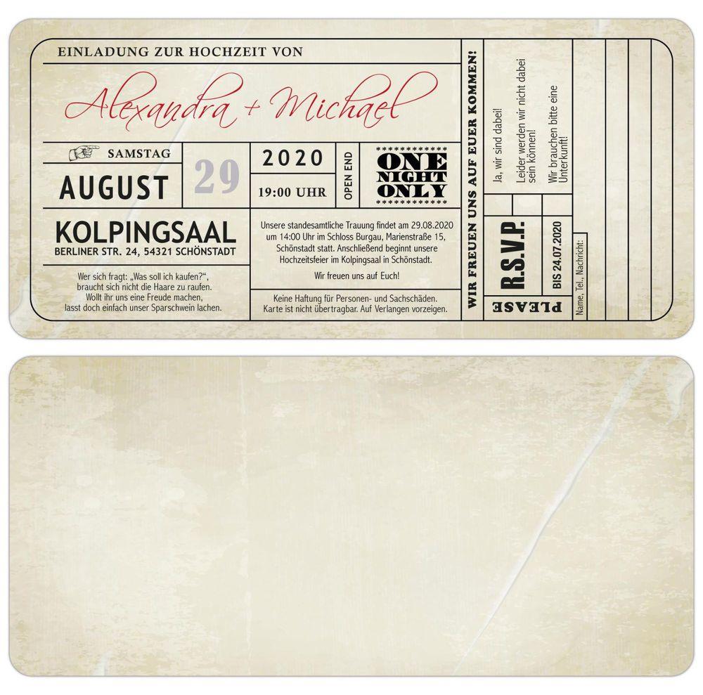 Ticket Eintrittskarte Vintage Einladungskarten zur Hochzeit Einladung