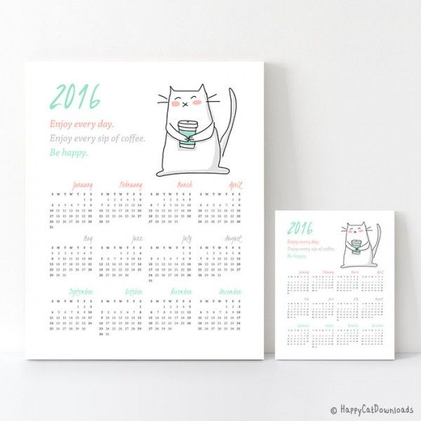 Printable Calendars For   Happy Cat Downloads  Planner