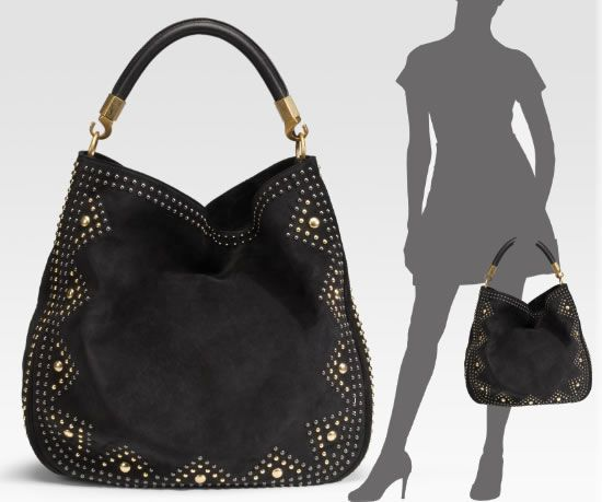 b9708451f66 A classy Yves Saint Laurent Roady Studded Suede Hobo bag up for grabs