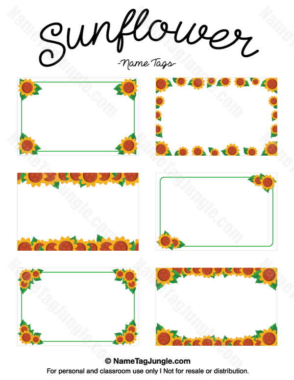 Free Printable Sunflower Name Tags The Template Can Also Be