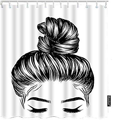 Amazon Com Moslion Girl Bath Shower Curtain Set Sketch Of Woman