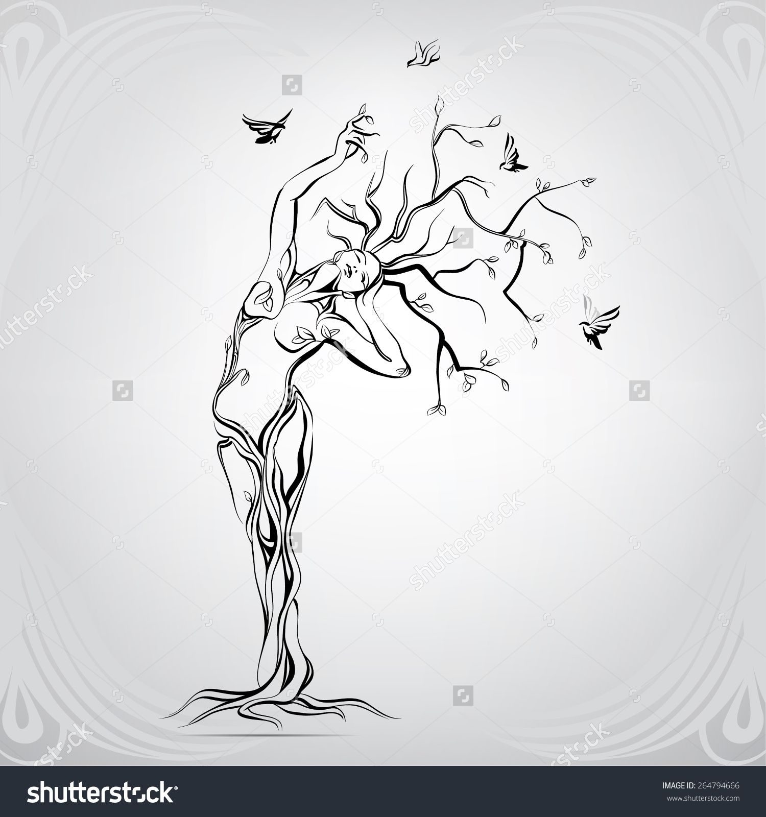 Vector Silhouette Of The Girl In The Form Of A Tree - 264794666 ...