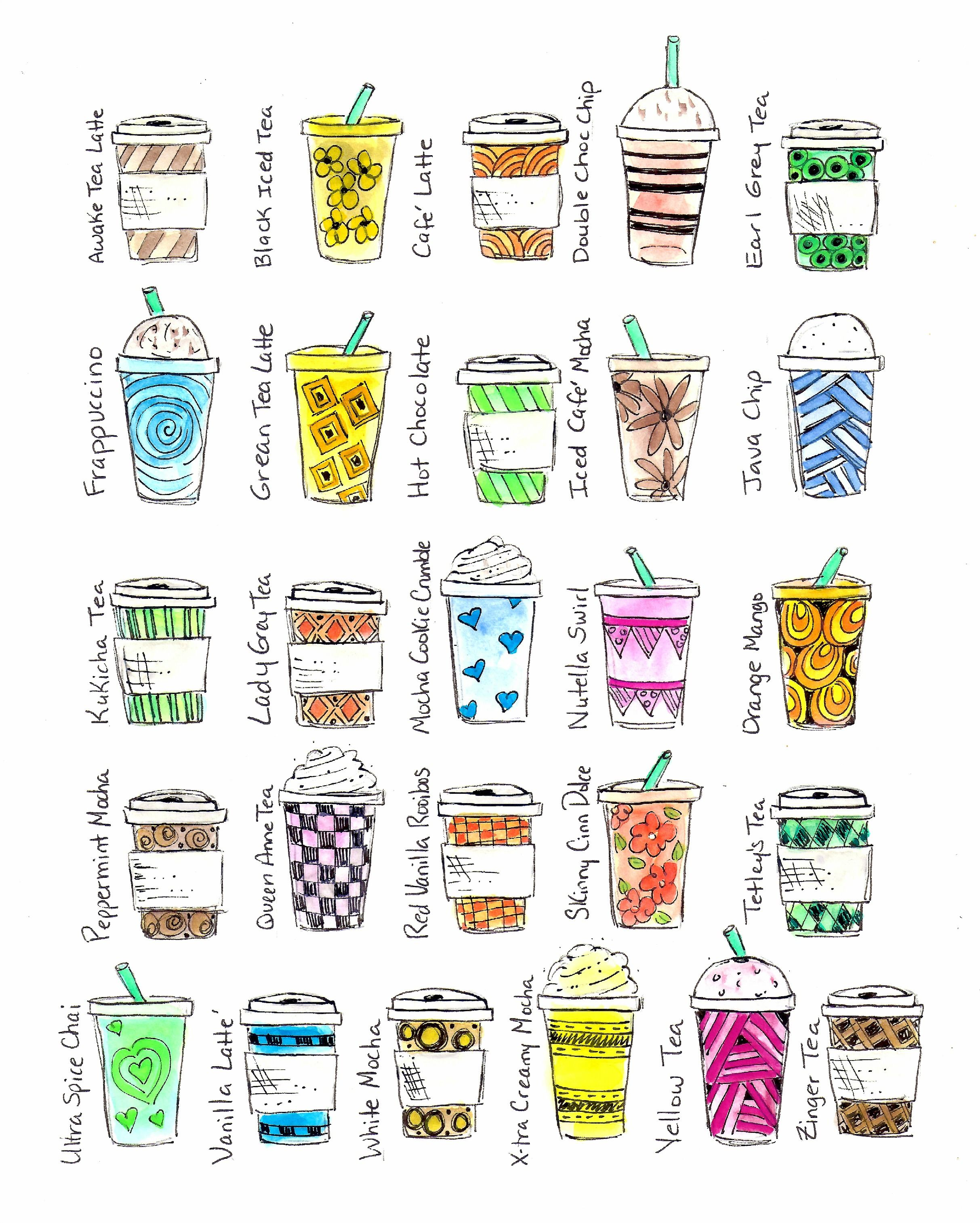 Photo of © Blue Chair Diary Illustrations.  A to Z Lattes. (scanned version) :)