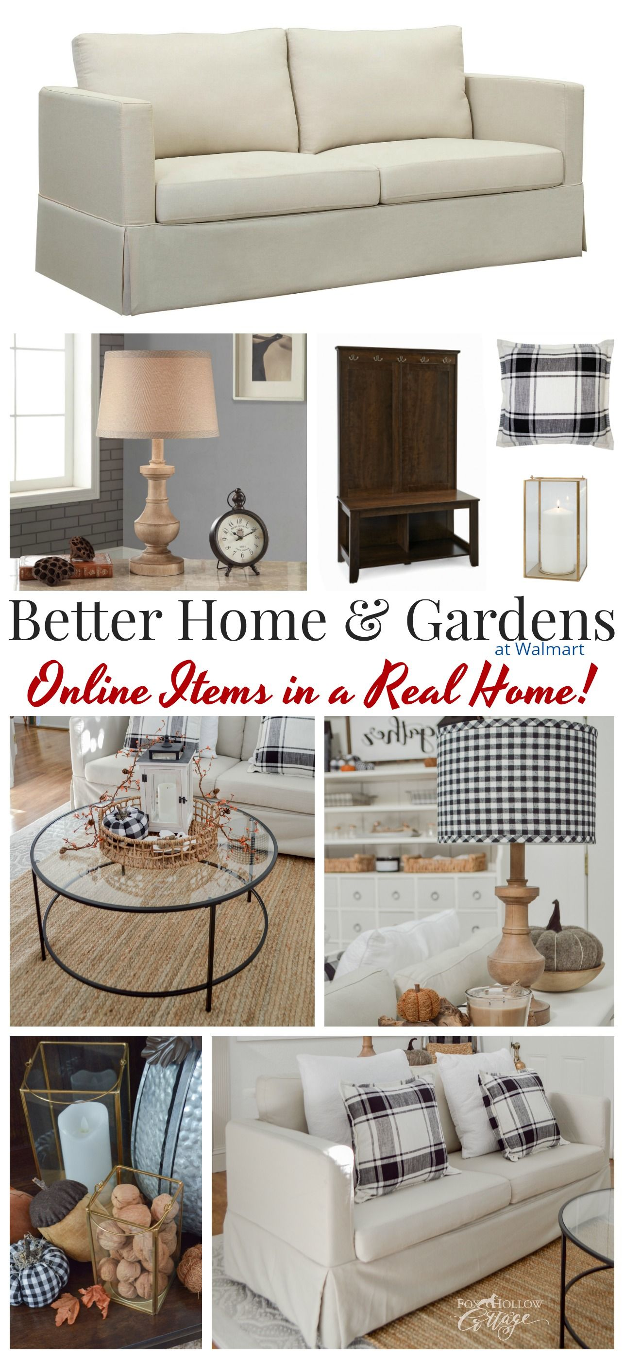 Online shopping with Better Homes & Gardens at Walmart - Real life decorating results - Black, White & Neutral Home Decor Basics - Affordably Effortless Decorating Ideas for Everyday, and into Fall. Cottage farmhouse living room styling. Matte black & glass coffee table, Slip cover sofa. #bhg #bhghome #sponsored #modernfarmhouse #farmhousestyle #livingroomideas #neutralhome #farmhouselivingroom #cottagestyle #coffeetable #neutralsofa #plaid #buffalocheck