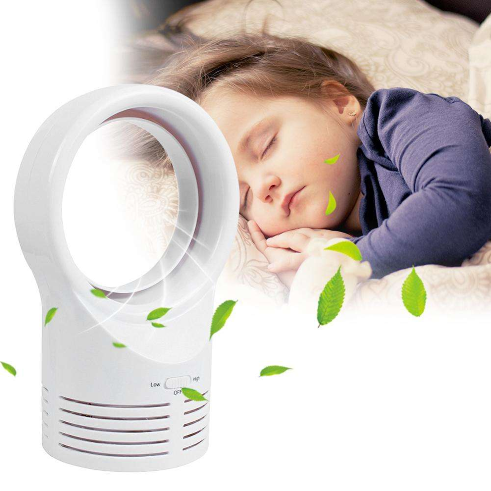 Air Cooler Humidifier Round Bladeless Small Fan Desktop Airflow
