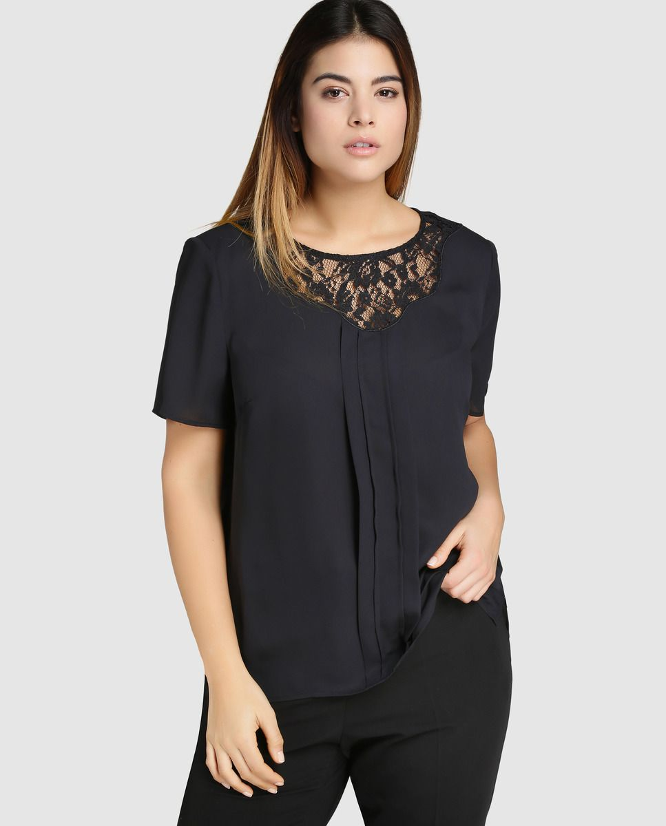 5353963cc8c2 Blusa de mujer talla grande Antea Plus en color negro y manga corta ...