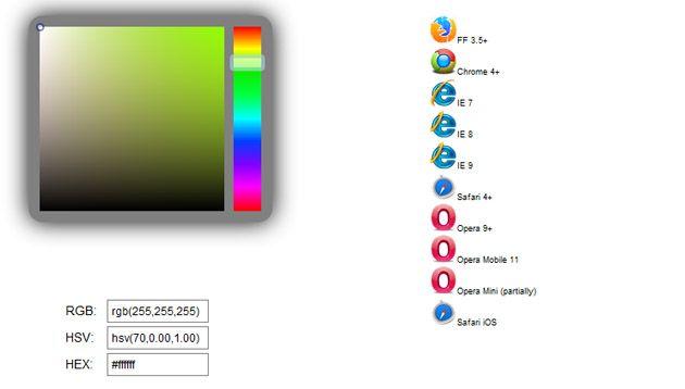 Html выбор цвета