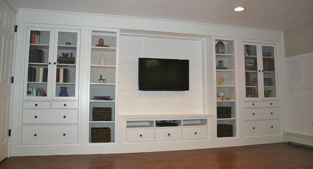 Media Wall Constructed From Ikea Hemnes Line And Finished To Look Like Built Ins