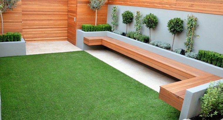 Paisajismo contemporáneo - 75 ideas para diseñar su jardín Madera - jardines con bancas