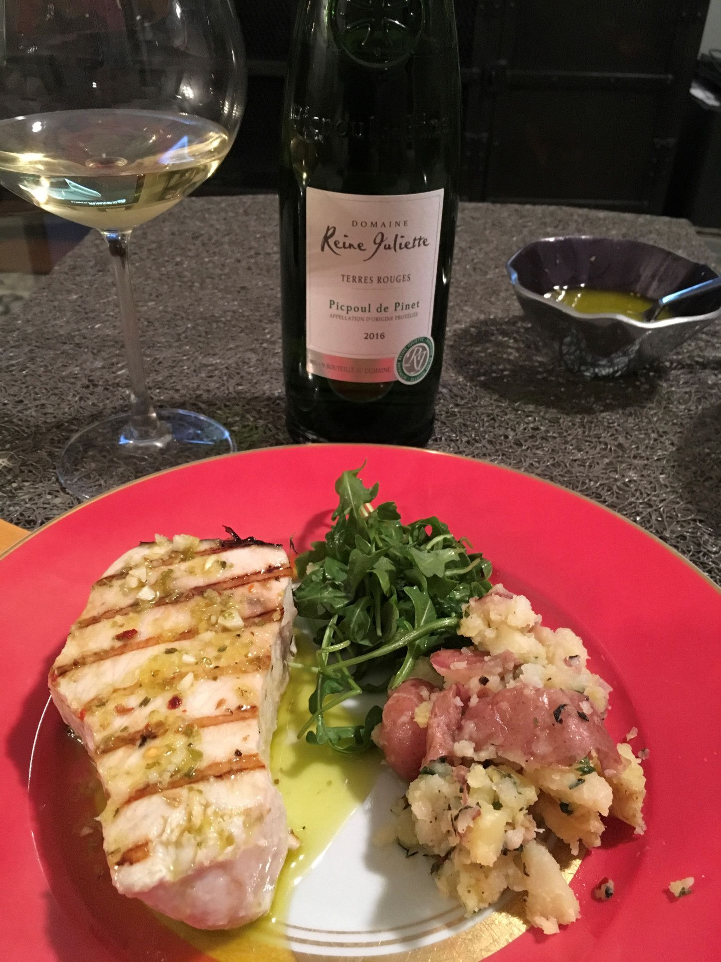 Swordfish And Picpoul On The Table
