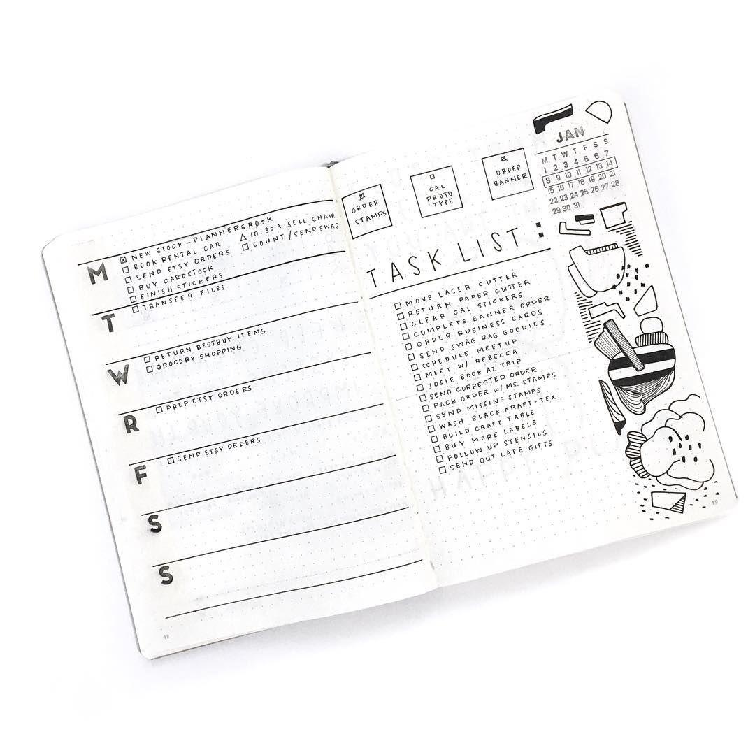 Bullet journal weekly layout, weekly task list, minimalist daily ...