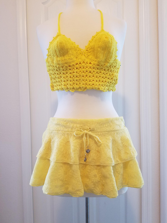 Yellow lace mini skirt beachwear bathing suit cover up crochet yellow lace mini skirt beachwear bathing suit cover up crochet bathing suit top bankloansurffo Images