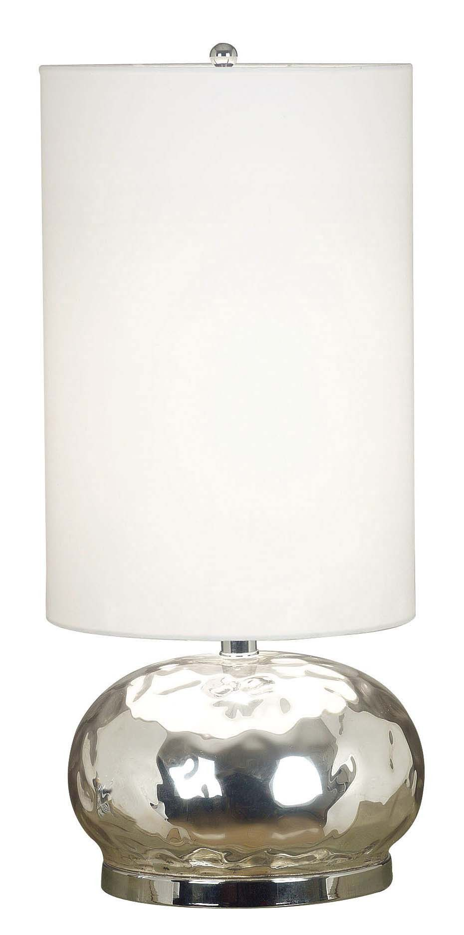 Roxie Table Lamp. Radiant, reflective Mercury Glass defines the spherical base of this contemporary lamp, giving it a romantic feel.  A tall White drum shade elongates and defines the shape.