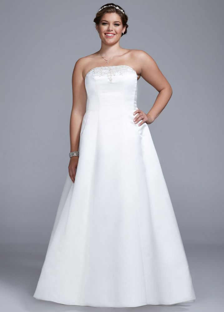 Lovely Sample Wedding Dress Strapless Satin A line with Beaded Lace Detail Ivory