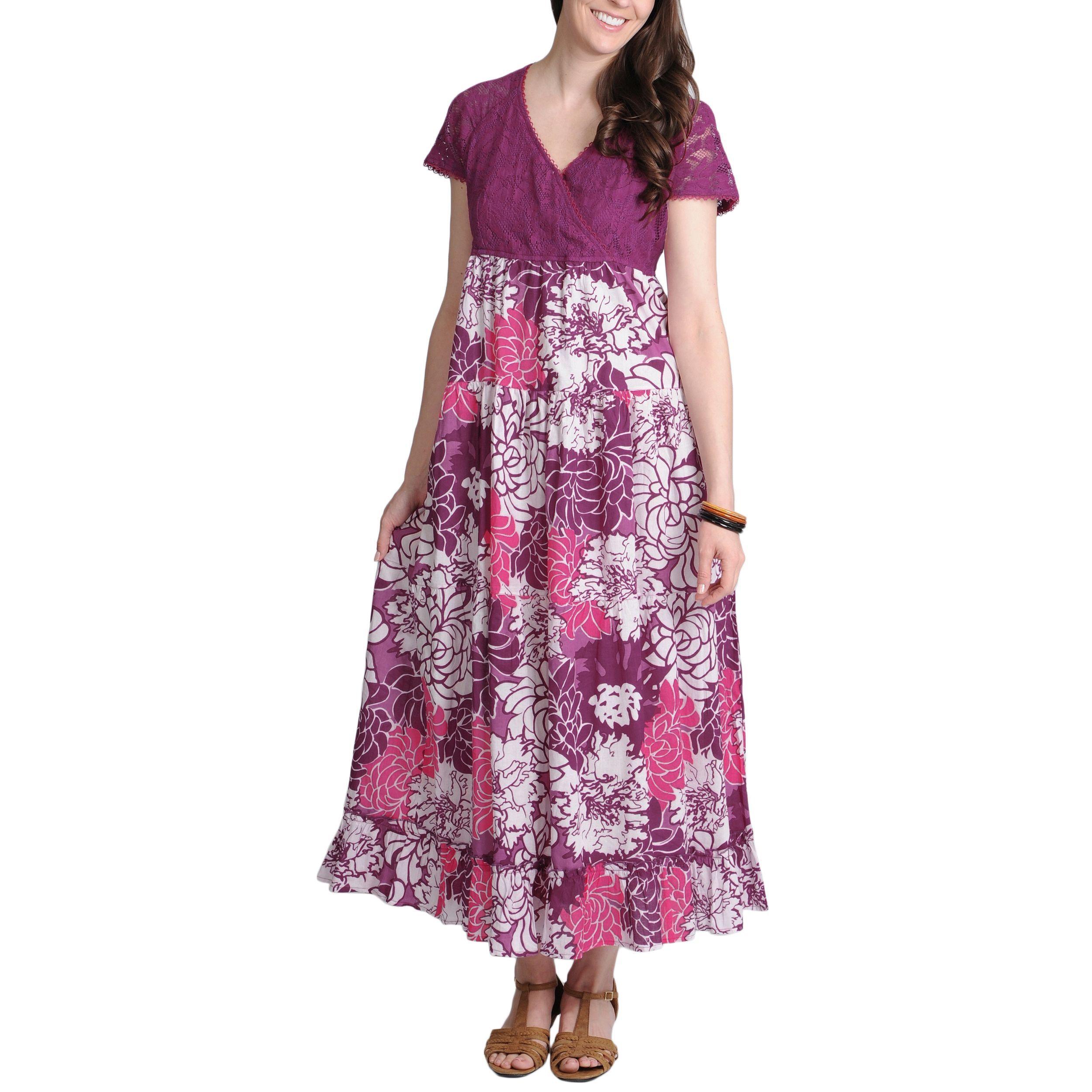 La cera womenus purple lace and floral twotone vneck maxi dress by
