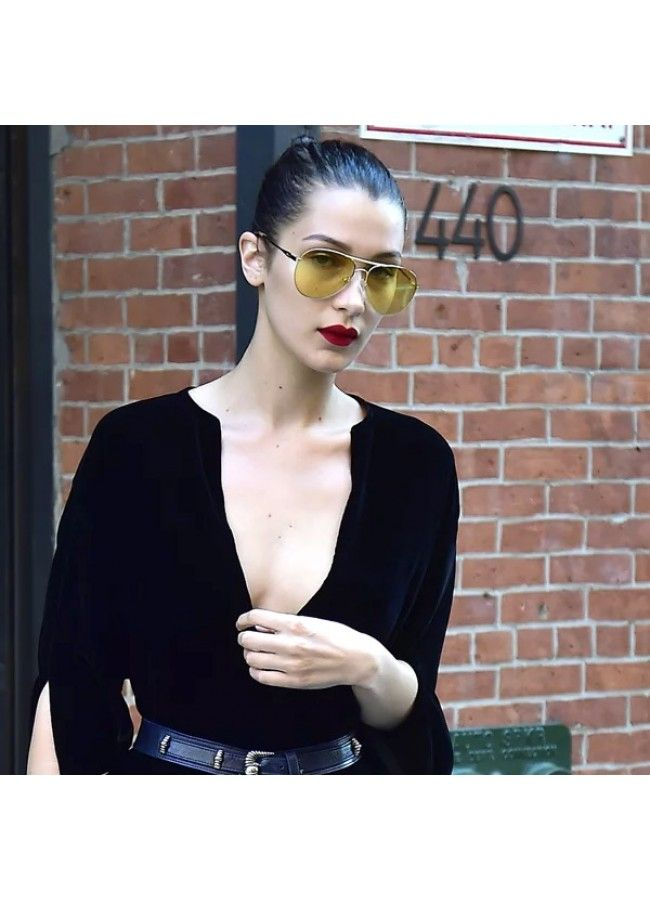 9378e6cfbbfc7 Bella Hadid Style Classic 58mm Tinted Lens Aviator Sunglasses ...