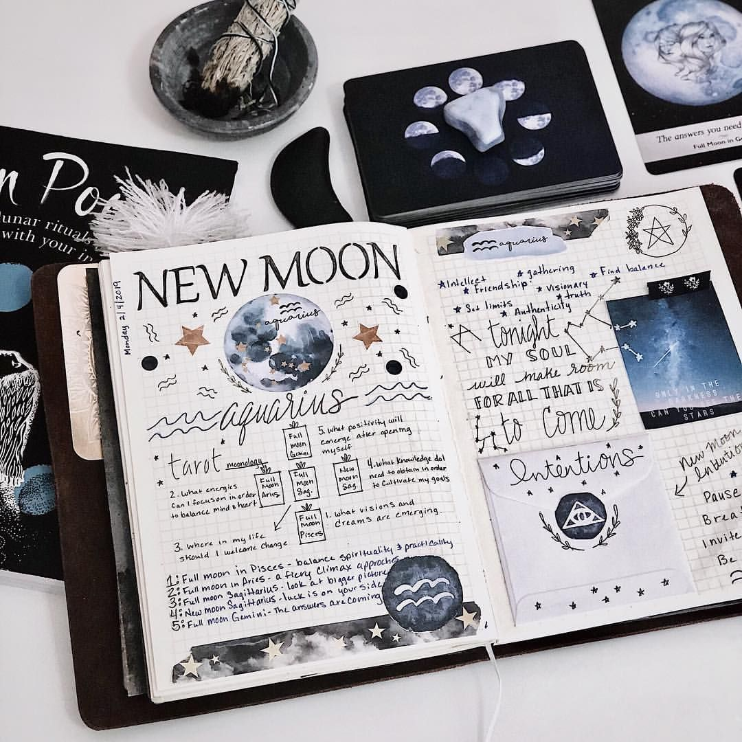 4 108 Likes 34 Comments Quinn Bouley Mindful Hookup On Instagram New Moon In Aquarius In My Bullet Journal Books Book Of Shadows Planner Bullet Journal