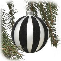 4 Black And White Stripe Glass Ball Ornament White Christmas Ornaments White Ornaments Black White Christmas