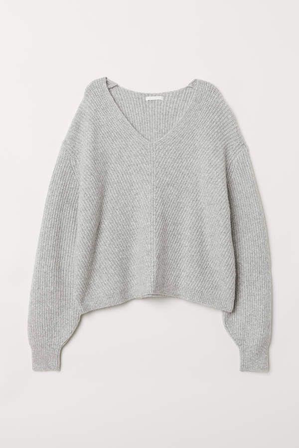 Damen Pulli V Neck V Ausschnitt Pullover Strickpulli Acryl und Wolle SMLXL