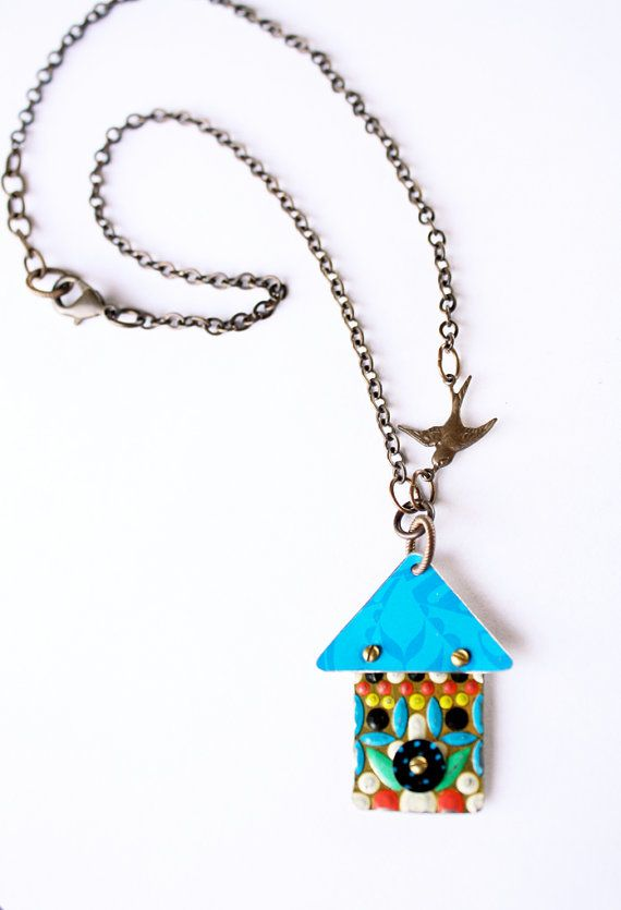 Birdhouse Necklace 2  Recycled Tin Vintage by SweetSageJewelry