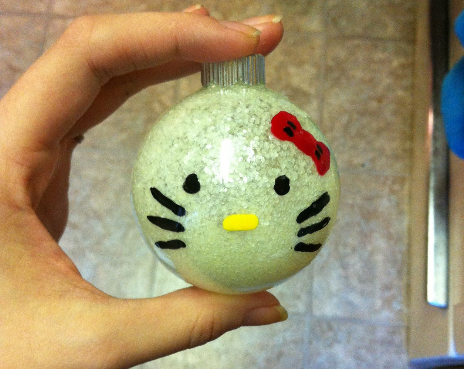 Homemade Hello Kitty glitter Christmas ornament