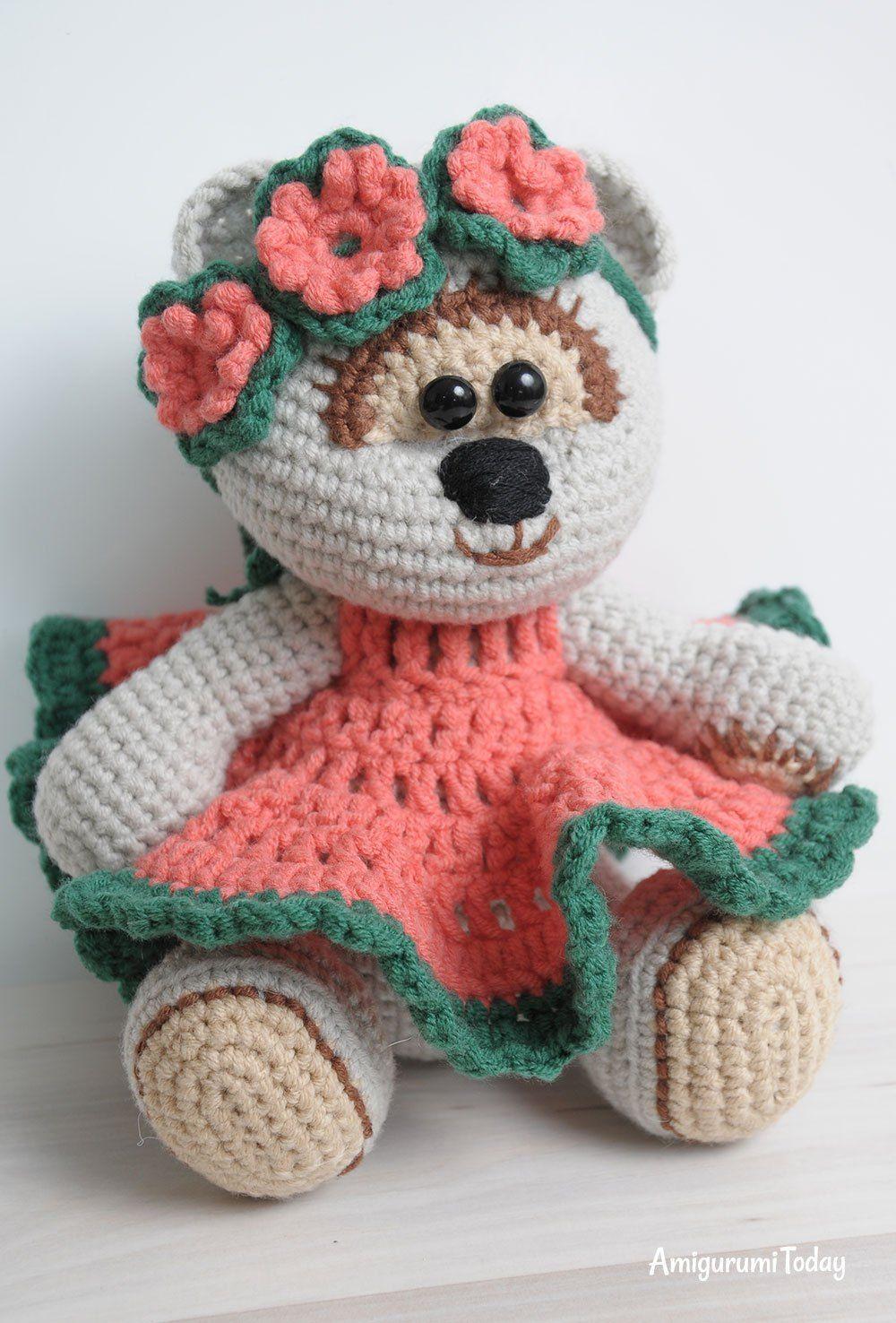 Miel oso de peluche chica amigurumi patrón | Proyectos que intentar ...