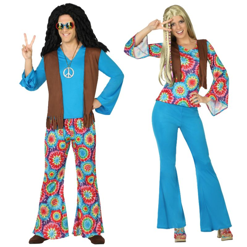 Pareja hippies azules parejas disfraces carnaval for Disfraz de hippie