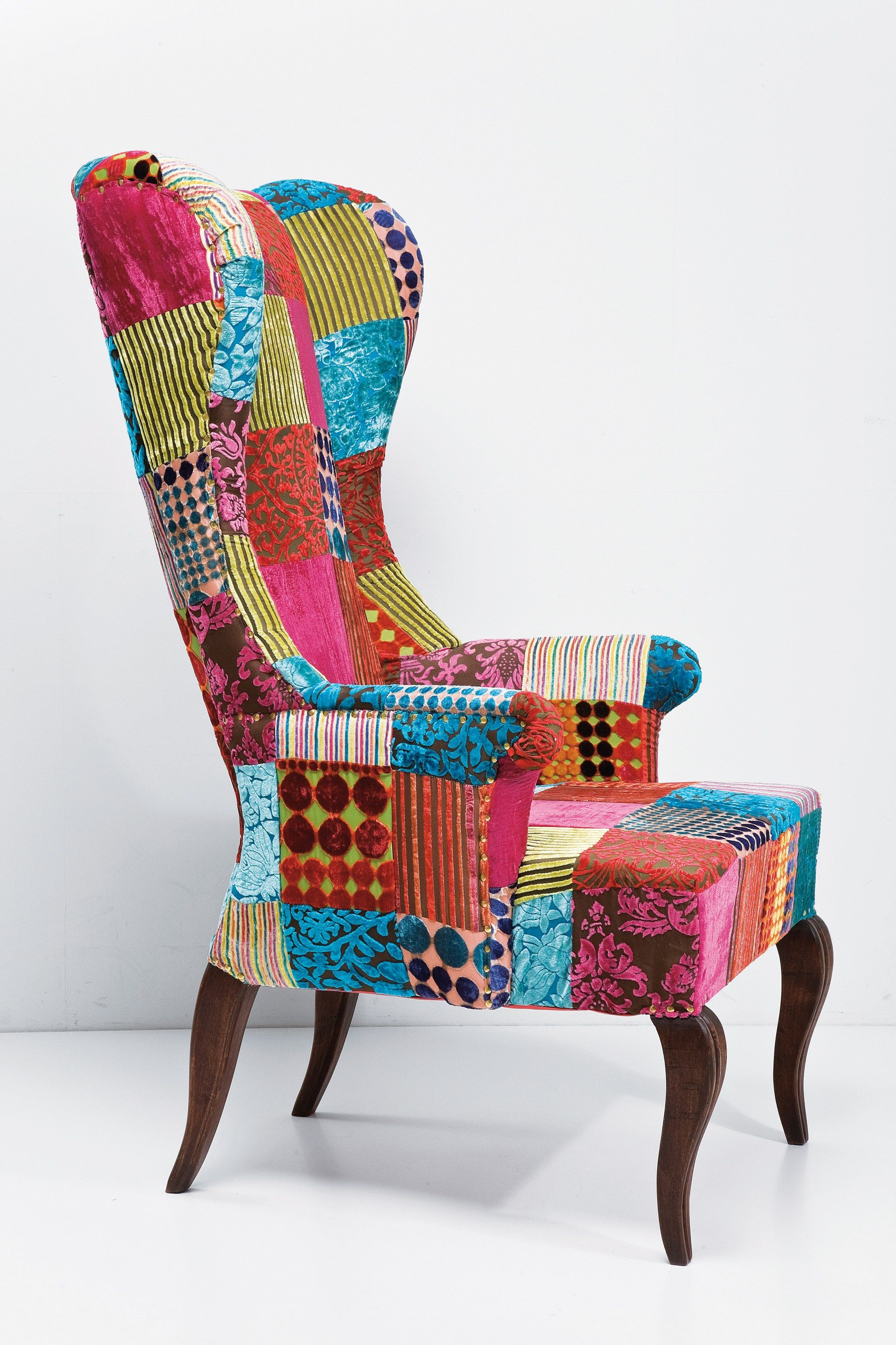 Beau Upholstered High Back Fabric Armchair PATCHWORK VELVET By KARE DESIGN