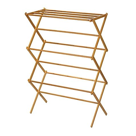 Household Essentials Bamboo X Frame Clothes Drying Rack Is