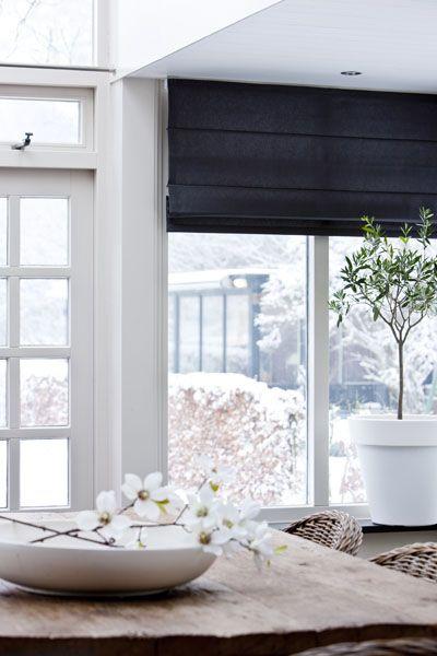 stores ou tentures pour cuisine gris foncé ( voir meubles cuisine - store pour fenetre interieur