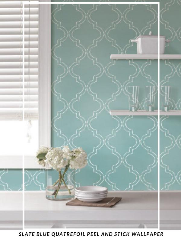 Slate Blue Quatrefoil Peel And Stick Wallpaper Quatrefoil Wallpaper Decorating Solutions Peel And Stick Wallpaper