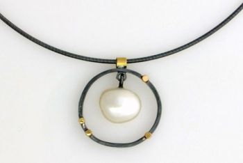 "Sydney Lynch pendant/necklace, ""Oxidized Pearl Circle\"""