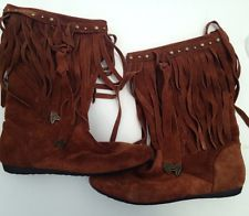 #ALDO #MidCalf #Suede #Fringe #Moccasin #Boots #Shoes Brown / Caramel Size 40 #Indian #Ebay