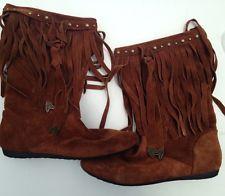 #ALDO #MidCalf #Suede #Fringe #Moccasin #Boots #Shoes Brown / Caramel Size 40 #Indian #Ebay