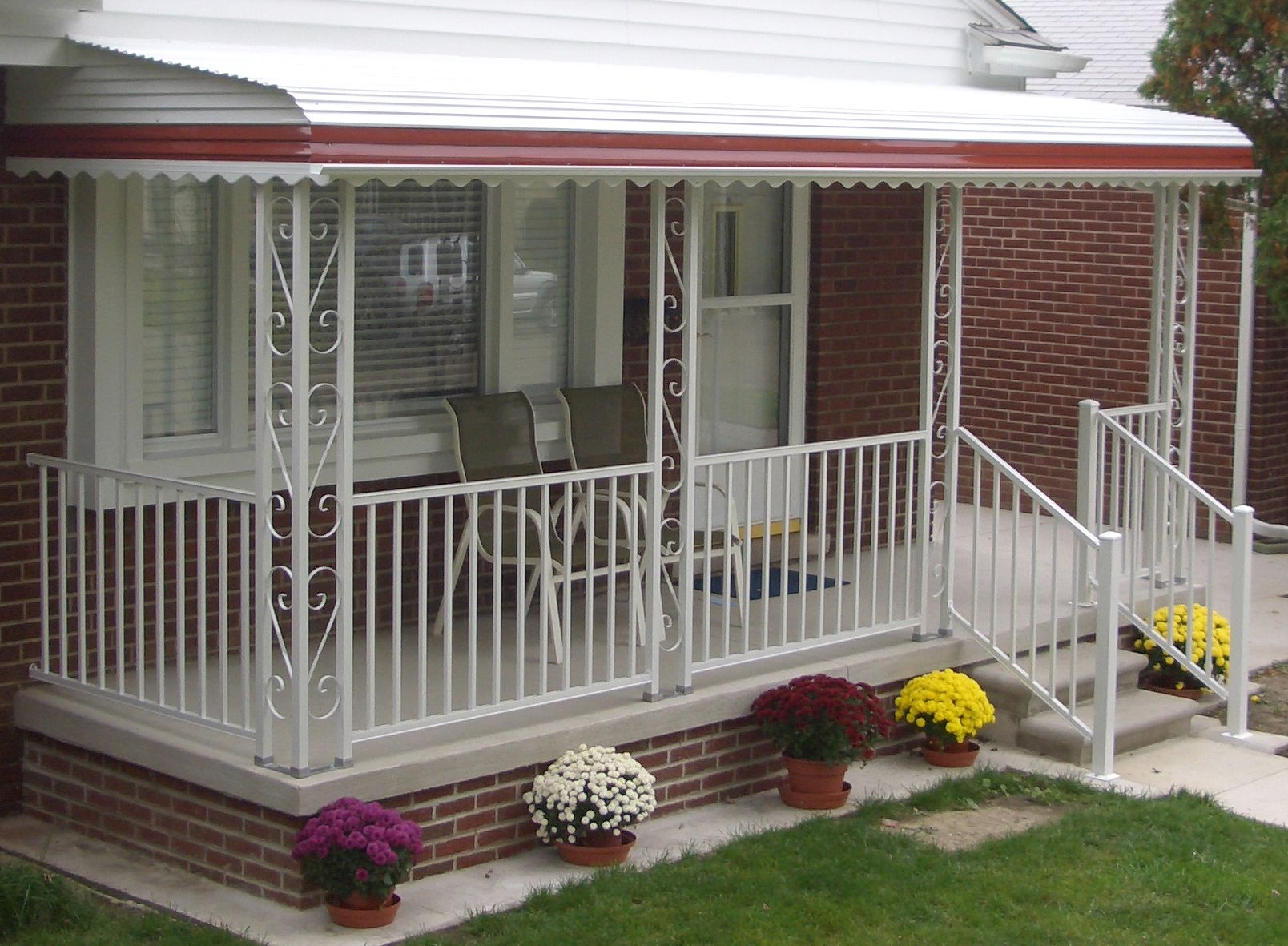 Step Down Aluminum Awning With Railing Window Awnings Carports Flat Pans W And Poly Roofs