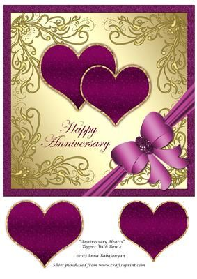 anniversary hearts topper with bow 2 anniversary pinterest