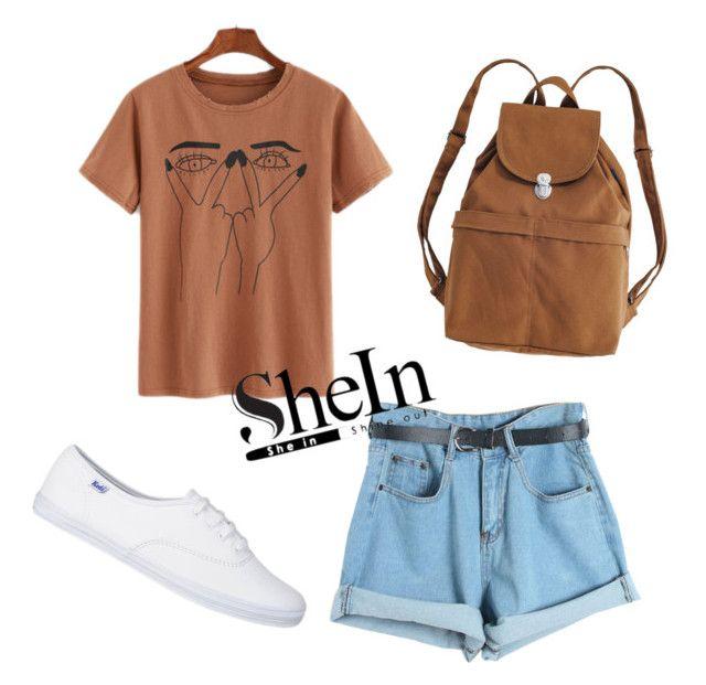 """Denim Shorts"" by anisimova-i ❤ liked on Polyvore featuring Chicnova Fashion and BAGGU"