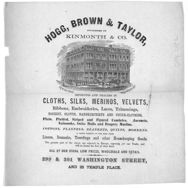 Hogg, Brown & Taylor, successors to Kinmonth & Co  importers