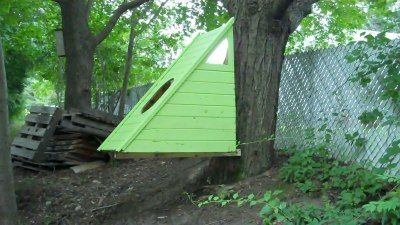 "A brand new micro-green hanging/""floating"" cedar treehouse prototype 