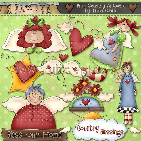 country graphics free | Country Cliparts Primitive Images Angels ...