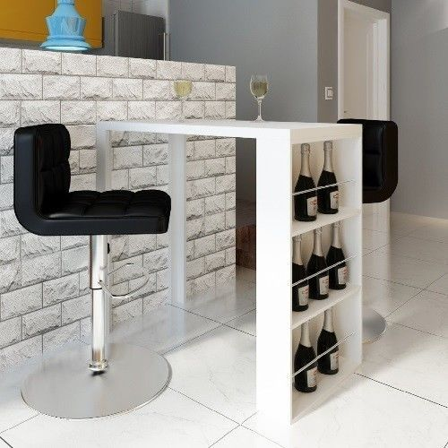 White Bar Table High Gloss Dining Table Bar High Stand Wine Rack