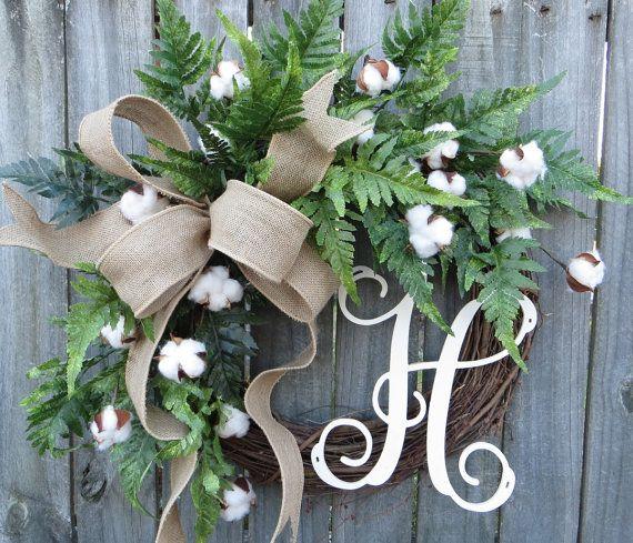 Cotton Wreath   Cotton Burlap Wreath   Cotton Decor   Spring Wreath   Year  Round Wreath  Welcome Wreath  Front Door Wreath  Wedding Wreath