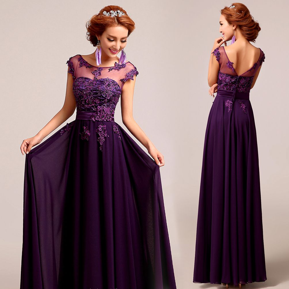 Deep plum purple chiffon lace floor length a line evening for Wedding dresses with purple trim