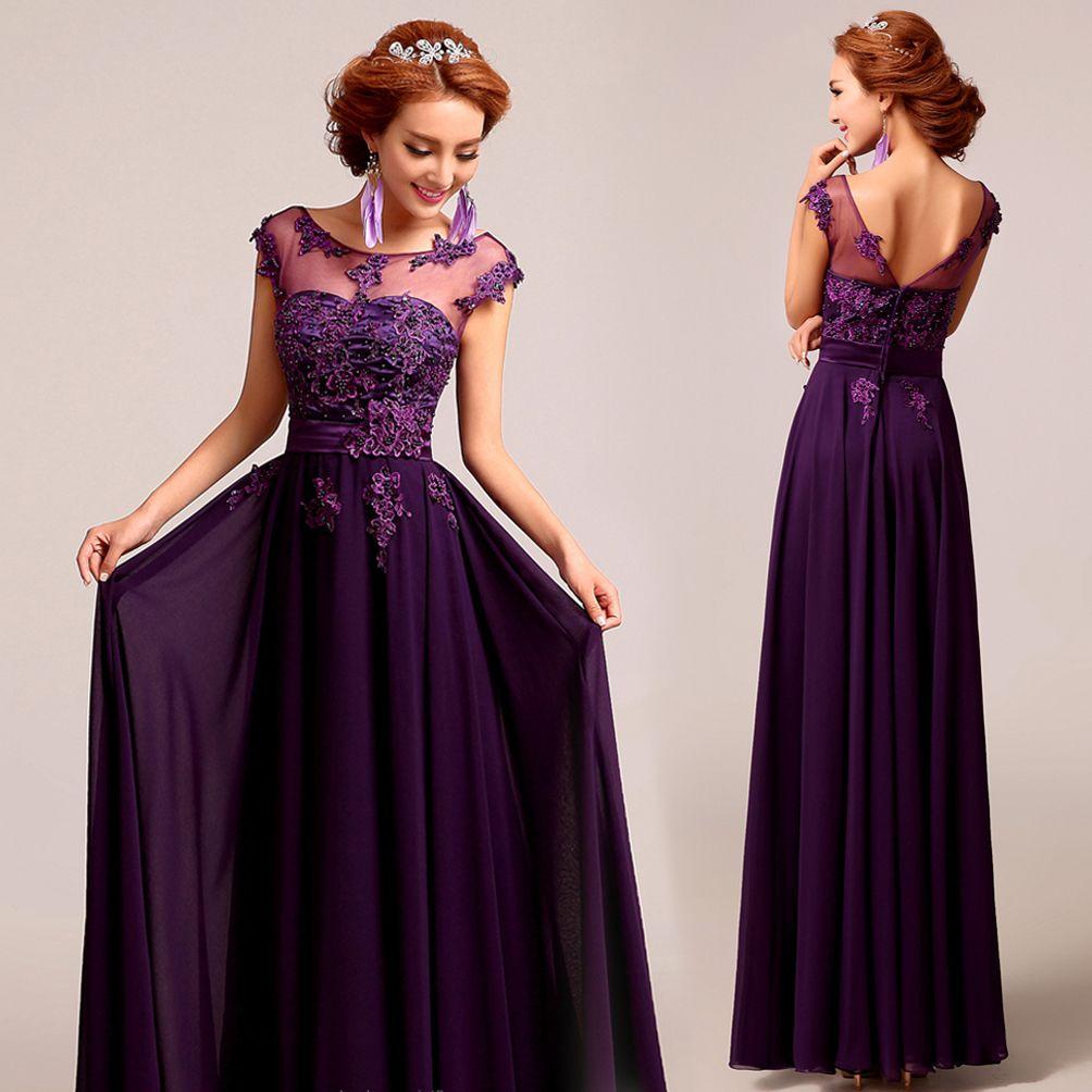 Deep plum purple chiffon lace floor length aline evening gown red
