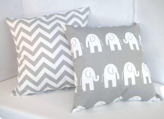 Clearance Pillow Cover Nursery Baby Gray Pillows Decorative Throw Grey Chevron Elephant