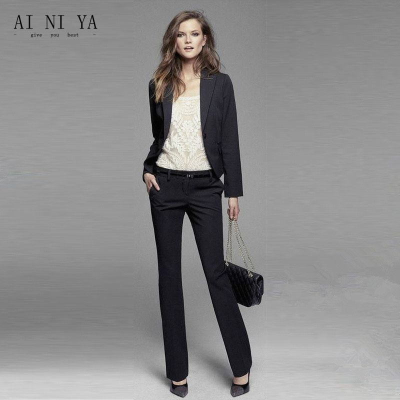 8af92c777bb101 Find More Pant Suits Information about Jacket+Pants Womens Business Suit  Black Long Sleeves Slim Female Office Uniform Ladies Formal Trouser 2 Piece  Blazer ...