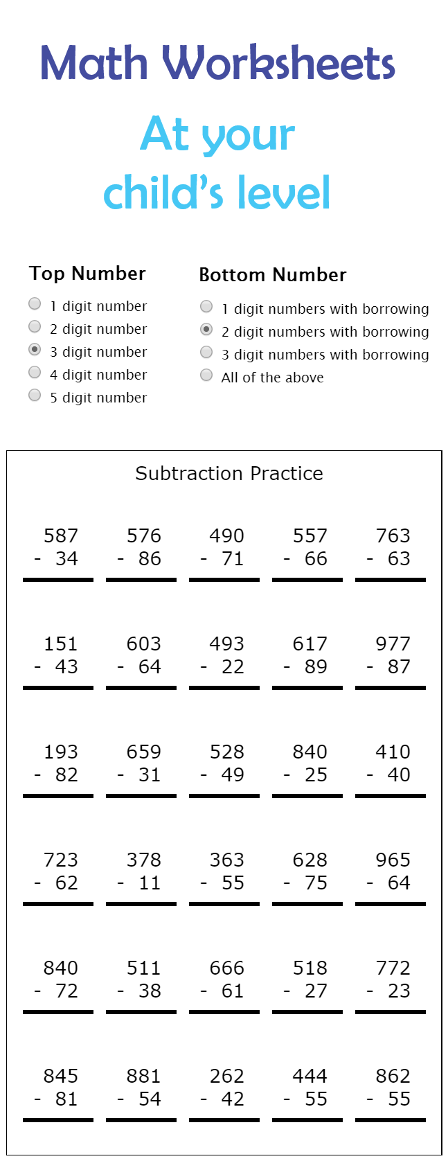 Unlimited Math Worksheets At Every Level Math Worksheets Subtraction Practice Printable Math Worksheets [ 1689 x 647 Pixel ]