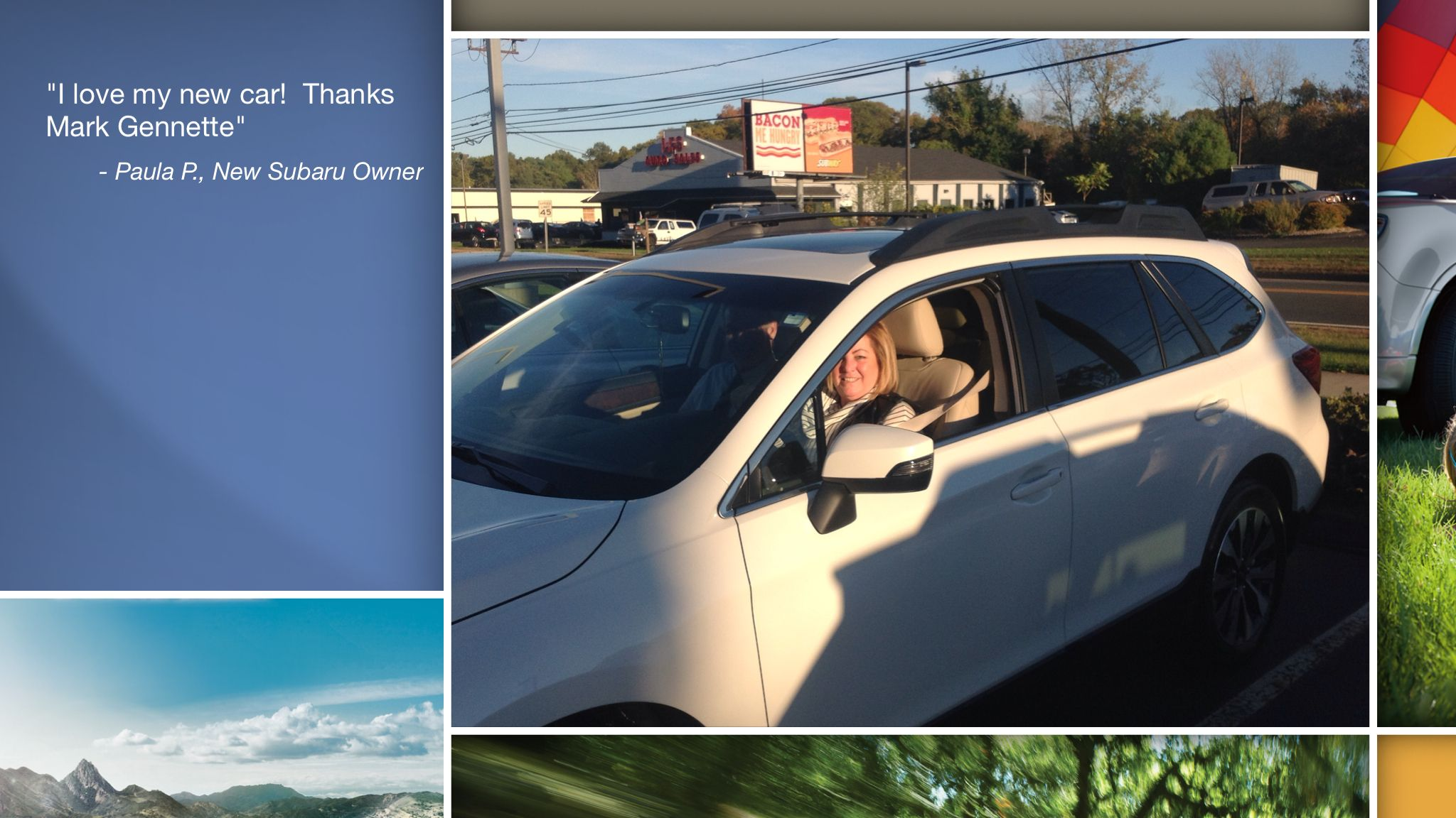 Dear Paula Pestalozzi   A heartfelt thank you for the purchase of your new Subaru from all of us at Premier Subaru.   We're proud to have you as part of the Subaru Family.